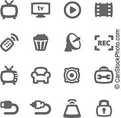 TV icons - Simple set of TV related vector icons for your ...