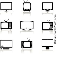 TV icons vector set