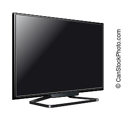 tv, illustration, écran, réaliste, lcd, vecteur