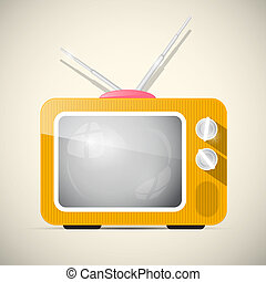 tv, illustrazione, vettore, retro, arancia, televisione