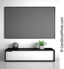 tv, intérieur, partie, moderne