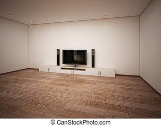 tv, intérieur, salle, vide