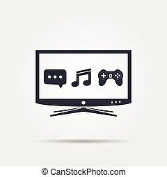 tv, intelligent, icône
