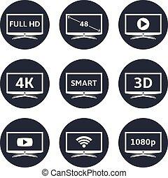 tv, intelligent, icônes