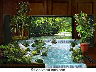 tv interior and waterfall collage