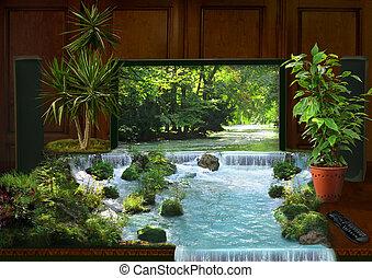 tv, interior, colagem, cachoeira