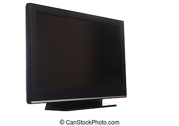 tv, isolé, écran, plat, blanc