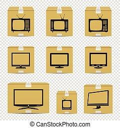 tv, isolé, boîtes, fond, carton, transparent