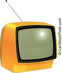tv, isolé, vendange