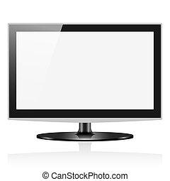 tv, isolado, widescreen, vetorial, lcd, monitor, branca
