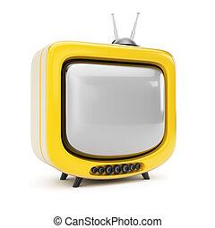 tv, jaune