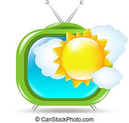 tv, jogo sol, nuvens, retro