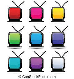 tv, kleurrijke, stellen