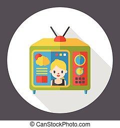 tv, lägenhet, övervaka, ikon