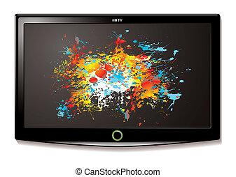 tv, lcd, écran, splat
