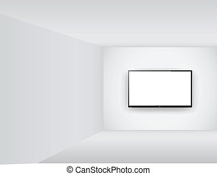 tv, lcd, mené, salle, ou