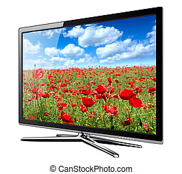 tv lcd - Modern TV lcd, led with wild poppy flowers on...