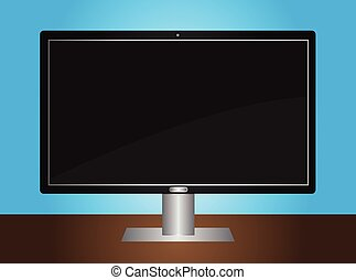 tv, lcd, moniteur, bureau