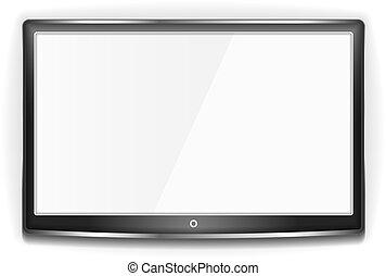 tv, lcd, noir, écran