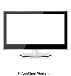 tv, lcd., plasma avskärmar, lägenhet