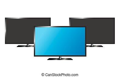 tv, lcd, vecteur, moniteur, illustration.