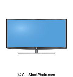 tv, lcd, vecteur, moniteur, illustration