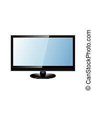 tv, lcd, vetorial, monitor, ilustração