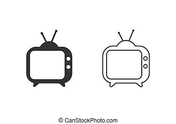 TV line icon set. Tv Icon in trendy flat style isolated on white background. Television symbol for your web site design, logo, app, UI. Vector illustration