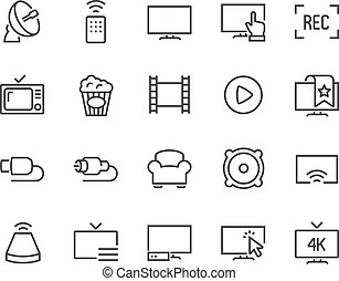 tv, linha, ícones
