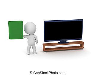 tv, livre, caractère, 3d