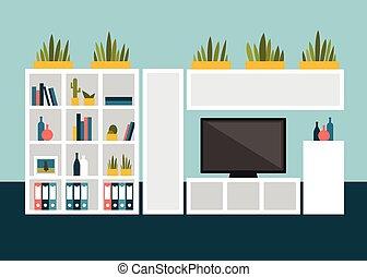 tv, livre, salle, vivant, conception, plat, shelves.