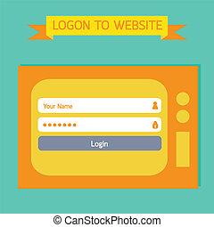 tv, login, retro, gabarit, style.