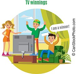 Tv Lottery Win Concept