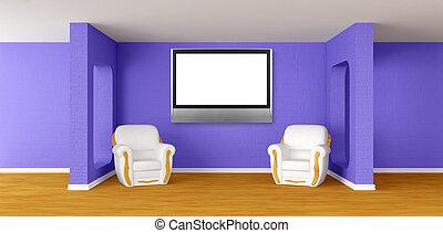 tv, lussuoso, moderno, poltrone, lcd, stanza