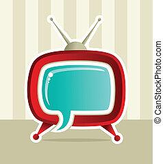 tv, média, social, idée, toile
