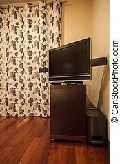 tv, maison, -, travertin, table