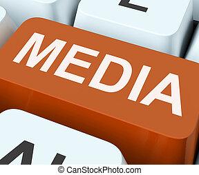 tv, media, giornali, multimedia, chiave, o, mostra