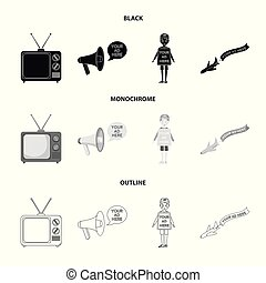 TV, megaphone, a man with a poster, an airplane with a banner. Advertising, set collection icons in black, monochrome, outline style vector symbol stock illustration web.