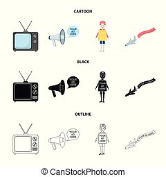 TV, megaphone, a man with a poster, an airplane with a banner. Advertising, set collection icons in cartoon, black, outline style vector symbol stock illustration web.