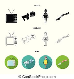 TV, megaphone, a man with a poster, an airplane with a banner. Advertising, set collection icons in black, flat, outline style vector symbol stock illustration web.