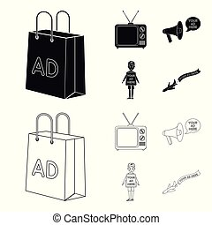 TV, megaphone, a man with a poster, an airplane with a banner. Advertising, set collection icons in black, outline style vector symbol stock illustration web.