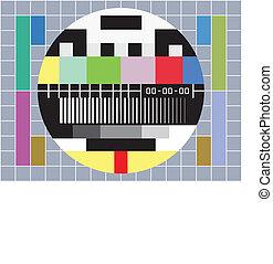 tv, met, test, scherm, met, nee, signaal