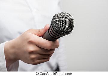 tv, microfone, ter, jornalista, menina