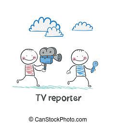 tv, microfono, macchina fotografica, corsa, giornalisti