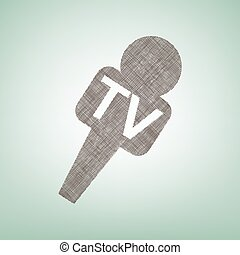 TV microphone sign illustration. Vector. Brown flax icon on green background with light spot at the center.