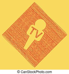 TV microphone sign illustration. Vector. Red scribble icon obtained as a result of subtraction rhomb and path. Royal yellow background.