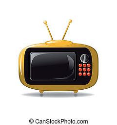 tv, mignon, animation, vecteur