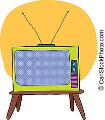 tv, mignon, dessin animé