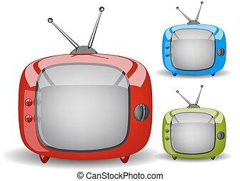 tv, mignon, vecteur