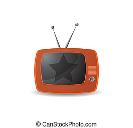 tv, mignon, vecteur, retro